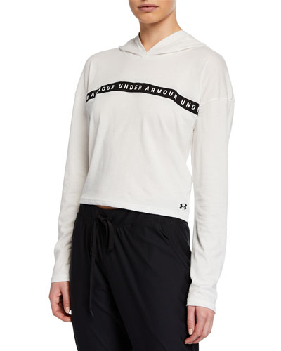 Taped Logo Cropped Active Hoodie