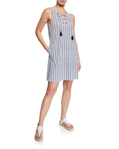 Island Cay Spa Lace-Up Tassel Pattern Dress