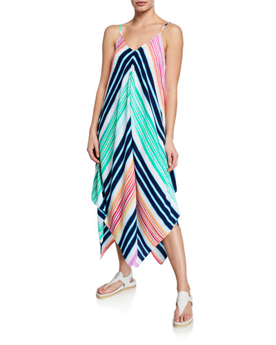 Rainbow Chevron V-Neck Sleeveless Scarf Dress