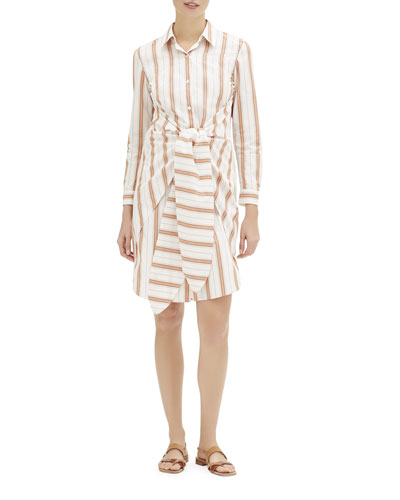 Brynlee Rosemont-Stripe Long-Sleeve Shirtdress w/ Tie-Front Detail