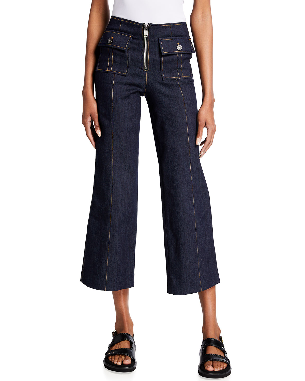 Azure Wide-Leg Stitched Pants