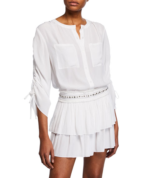 Ramy Brook Denise Button-Front Drawstring-Sleeve Top