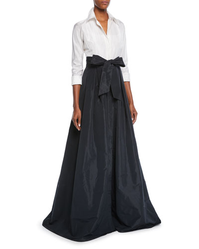 Two-Tone 3/4-Sleeve Taffeta Shirtdress Gown