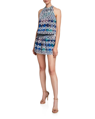Paris Printed Georgette Halter Mini Dress