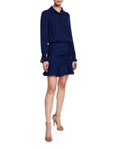 Berkley Shirred Flounce Shirt Dress