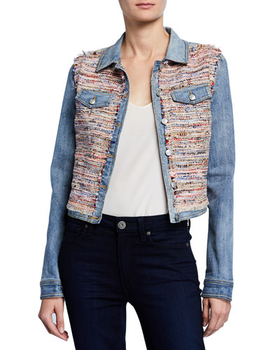 Montie Tweed Combo Cropped Denim Jacket