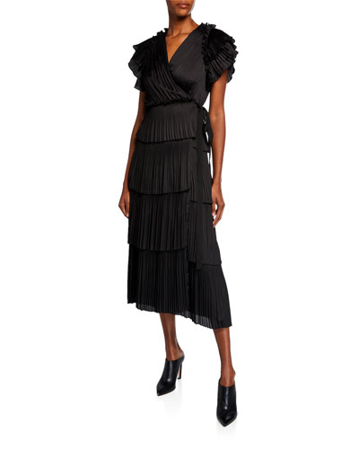 Sasha Pleated Ruffle Short-Sleeve Wrap Dress