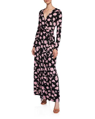 Long Sleeves Wrap Dress Neiman Marcus