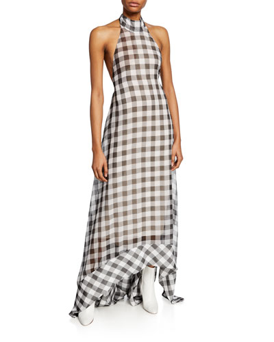 Bibele Gingham Halter Maxi Dress