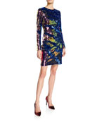 NK32 Naeem Khan Long-Sleeve Sequin Mini Dress