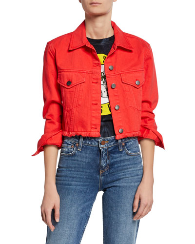 Button-Front Boxy Cropped Denim Jacket
