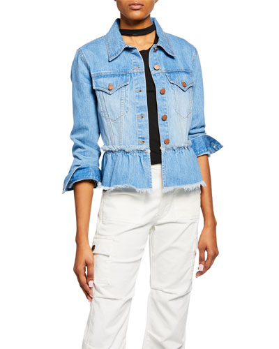 Tiered Ruffle Frayed Denim Jacket