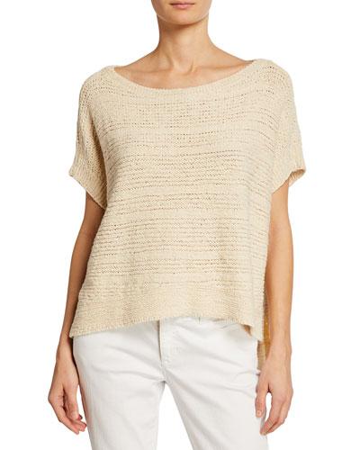 Plus Size Tape-Knit Organic Cotton Sweater
