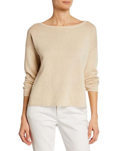 Plus Size Boat-Neck Bracelet-Sleeve Organic Linen/Cotton Sweater
