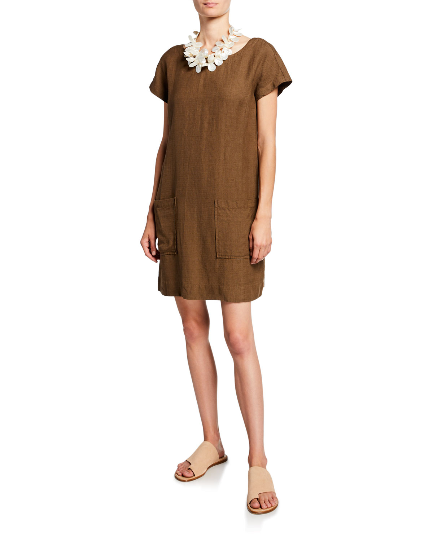 Eileen Fisher Dresses PETITE CAP-SLEEVE CREPE SHIFT DRESS
