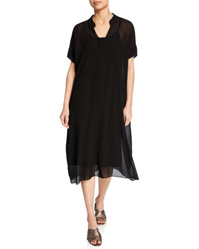 Short-Sleeve Sheer Silk Georgette Midi Dress