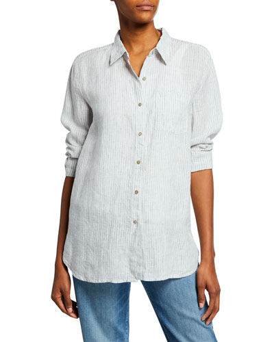 56c06e8b Quick Look. Eileen Fisher · Plus Size Mini-Stripe Button-Front Handkerchief Linen  Shirt