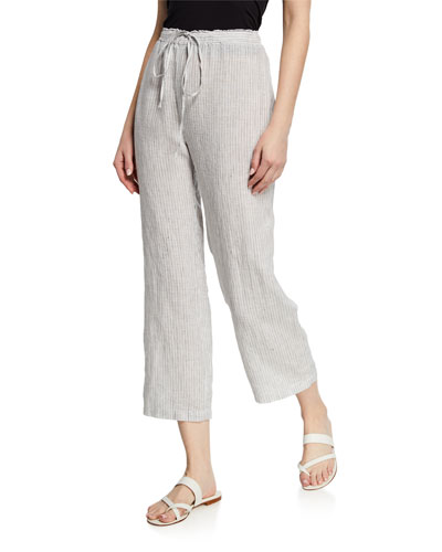 Mini-Stripe Drawstring Straight-Leg Organic Linen Crop Pants