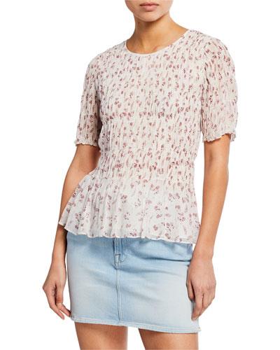 Floral-Print Smocked Short-Sleeve Top