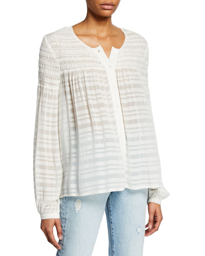 Smocked Button-Up Long-Sleeve Top