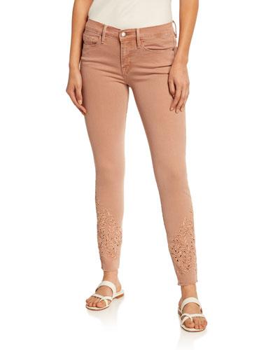 Le Skinny de Jeanne Foliage Eyelet Skinny Jeans