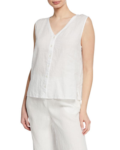 V-Neck Button-Front Sleeveless Organic Linen Top