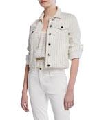 FRAME Le Vintage Striped Cropped Denim Jacket