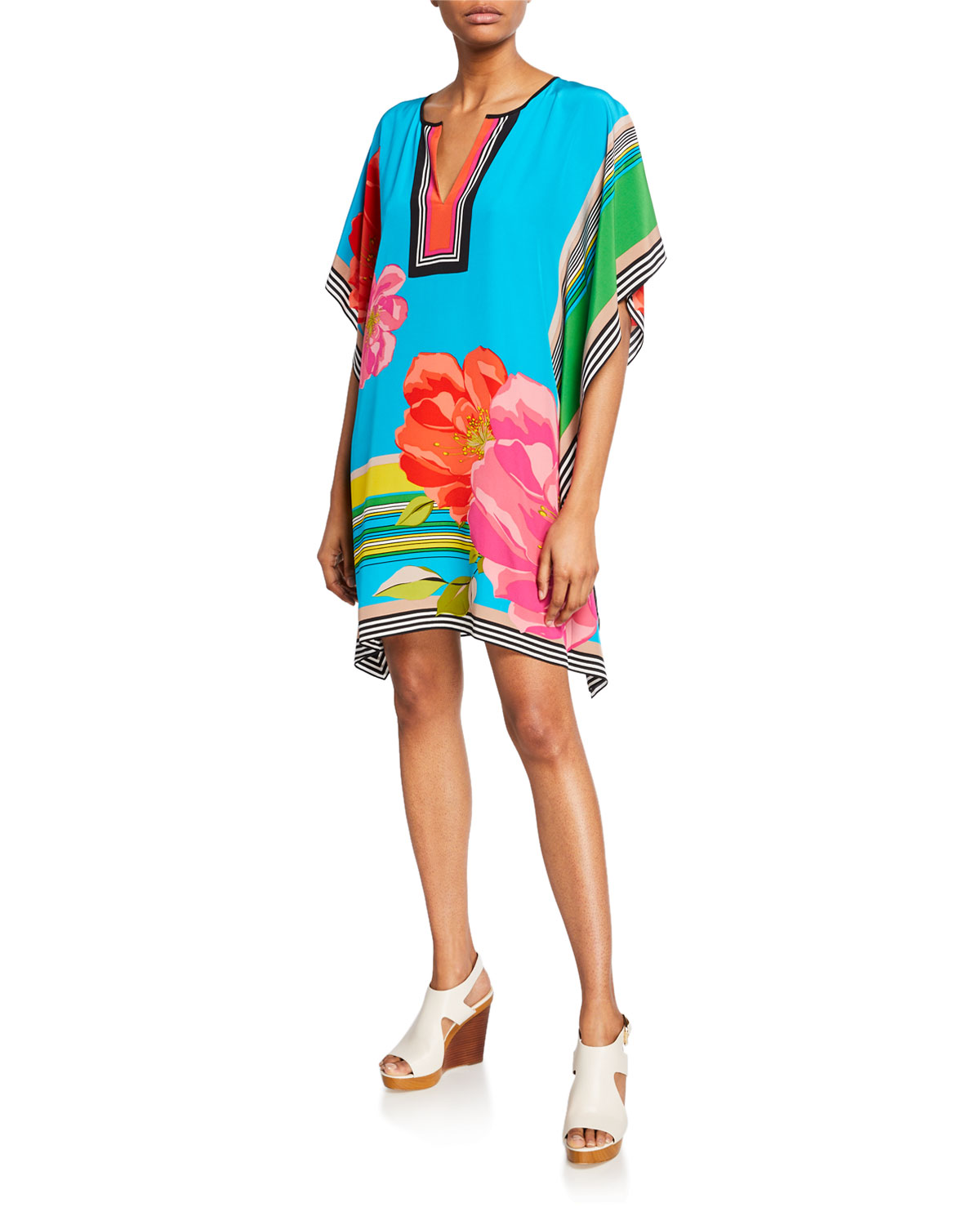 Trina Turk Dresses THEODORA FLY OVER FLORAL SILK TUNIC DRESS