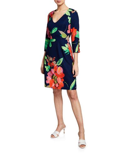 Picturesque Keepsake Floral Smoothie-Print V-Neck 3/4-Sleeve Dress