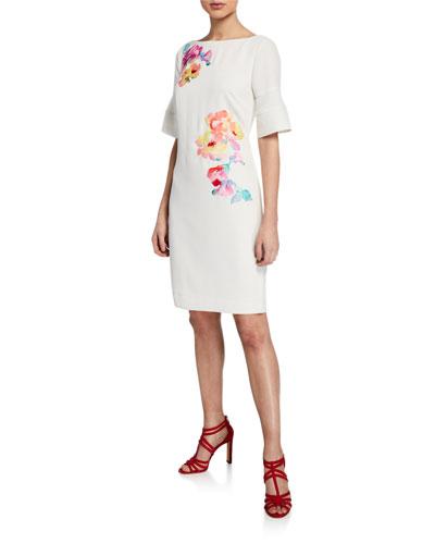 Sojourn Bateau-Neck Short-Sleeve Sheath Dress w/ Embroidery