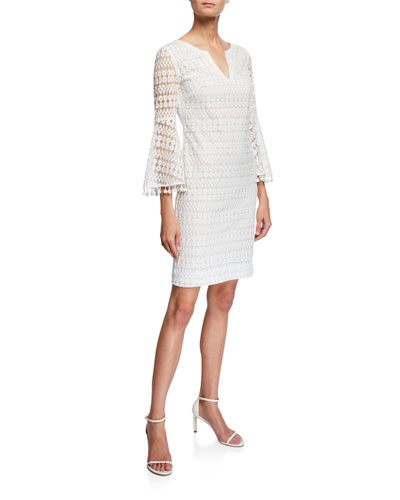 Loomis Bell-Sleeve Momento Embroidered Lace Dress