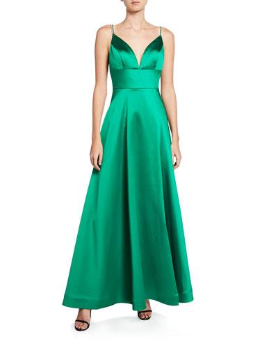 V-Neck Jewel-Strap A-Line Satin Gown