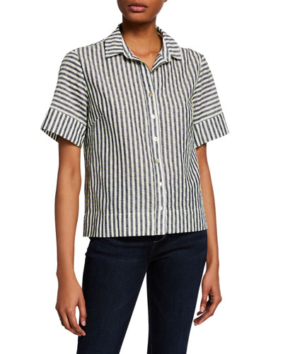 Theo Striped Button-Down Short-Sleeve Shirt
