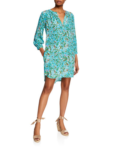 Chloe Kyoto Floral-Print 3/4-Sleeve Shift Dress