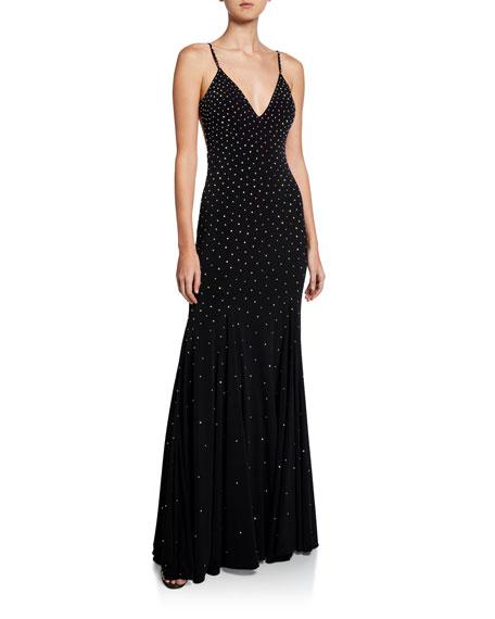 Jovani Stone Embellished V-Neck Open-Back Sleeveless Gown