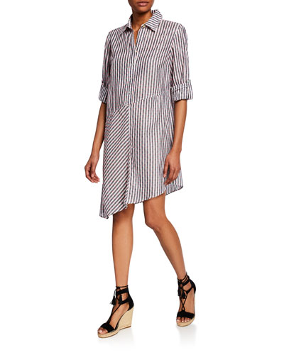 Striped Clip Dot Long-Sleeve Asymmetric Popover Dress