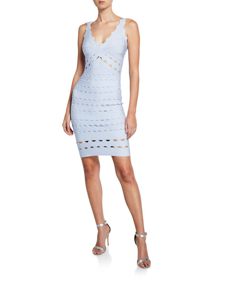 Jovani V-Neck Sleeveless Fitted Laser-Cut Dress