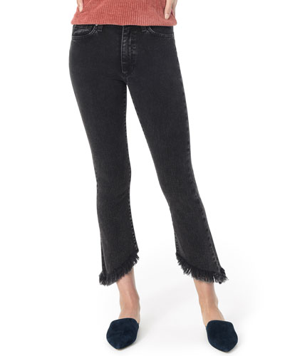 Callie Cropped Boot-Cut Frayed Jeans