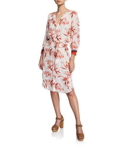3cfa67a0ecaa06 Three Quarter Sleeves Floral Print Dress | Neiman Marcus