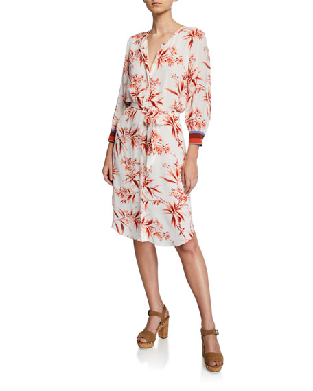 Joie Jeanee Floral-Print Button-Front 3/4-Sleeve Dress