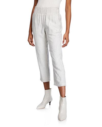 Araona Pinstripe Cropped Straight-Leg Pants