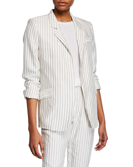 Joie Darryl Pinstriped One-Button Jacket