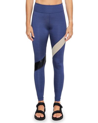 Aello Colorblock-Stripe Shantung Leggings