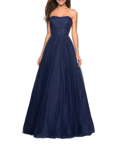 Strapless Tulle Ball Gown with Scattered Rhinestones