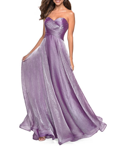 Strapless Metallic Chiffon Gown with Ruched Bodice