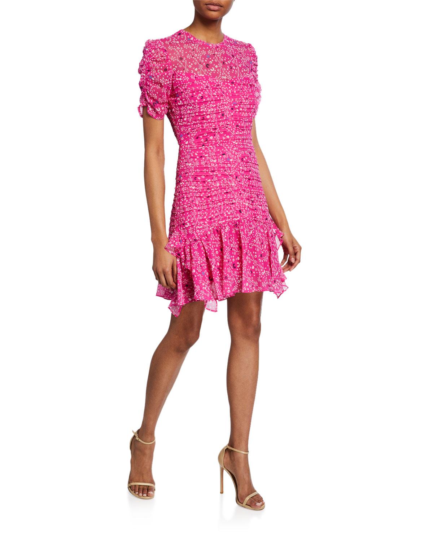 Tanya Taylor Dresses CARTI IKAT-PRINT PLEATED MINI DRESS