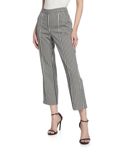 Rosaria Gingham Straight-Leg Pants