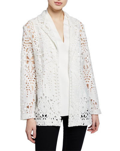 Petite Long-Sleeve Open Lace Blazer