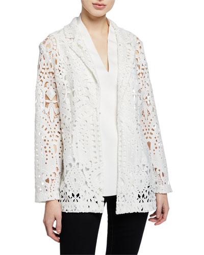 Petite Long-Sleeve Open Lace Blazer