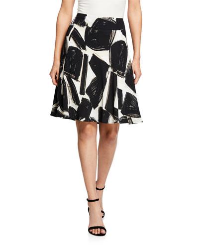 Petite Nightfall Abstract-Printed A-Line Skirt